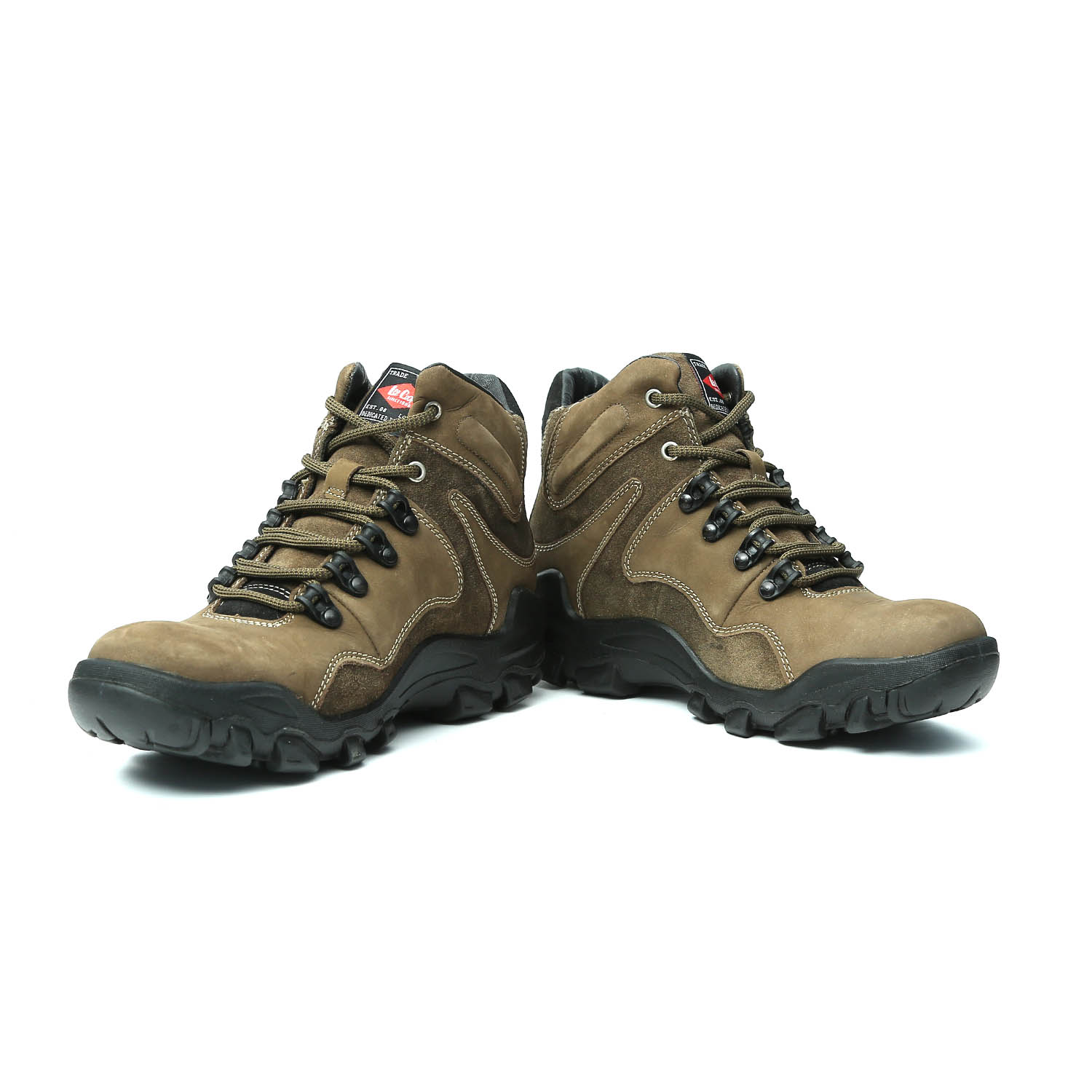 Lee Cooper Men's Olive Leather Trekking & Hiking Boots ...