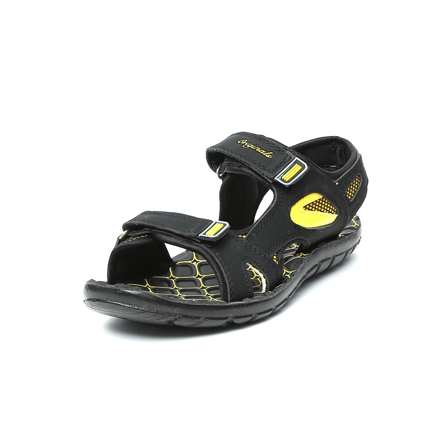 3400b537cd4d Lee Cooper Men s Black and Yellow Sandals   Floaters
