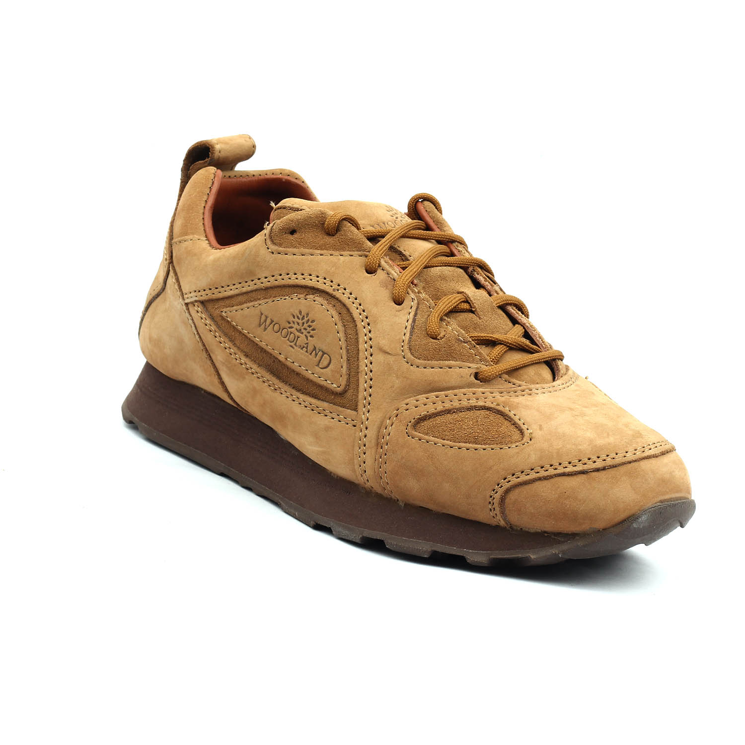 48c3a48e709 Woodland Men's Nubuck Leather Camel Sneakers